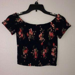 Tops - Floral off the shoulder top